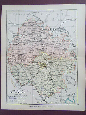 HEREFORDSHIRE + RAILWAYS ANTIQUE BARTHOLOMEWS  MAP DATED 1890 7inx 9in