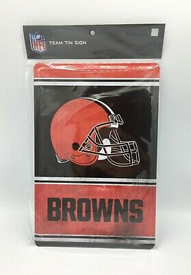 "Cleveland Browns Team Tin Sign Vintage Retro Inspired Metal 12""X8"" Man Cave Fan"