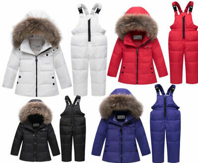 Kids Boys Girls Toddler Snow Ski suit Puffer Fur Hooded Down Jacket Coat Outfits