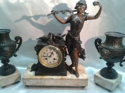 Antique French 8 Day Bronzed Metal & Marble Classical Figural Mantle Clock Set