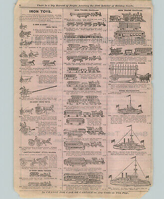 1899 PAPER AD 3 PG Cast Iron Banks Toys Trains Tin Jolly Negro Racist Bank Stove
