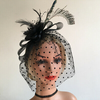 Black Sinamay Feather Flower Net Fascinators Millinery Cocktail Derby Hat