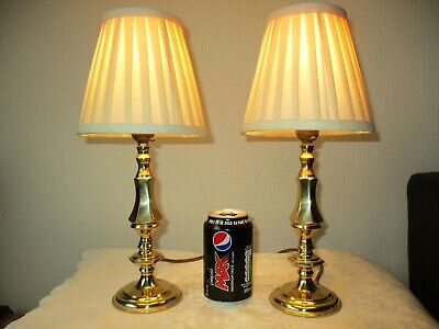 Pair Of Vintage Solid Br Bedside Table Lamps With New Quality Shades