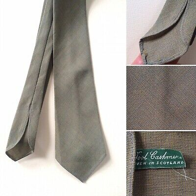 "Vintage 1940s Pure Wool Cashmere Green Neck Tie Width 3"" Goodwood Swing"