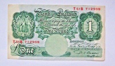 Bank Note, One Pound, Bank Of England, 1950'S, Beale , Chief Cashier, Vintage