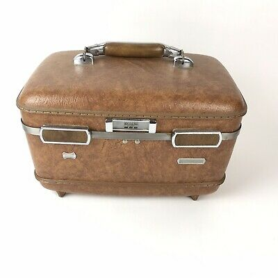 Vintage American Tourister Brown Train Travel Hard Case Luggage combination lock
