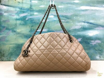 77720613838 $2740 CHANEL Just Mademoiselle Beige Quilted Leather Shoulder Bag Bowle