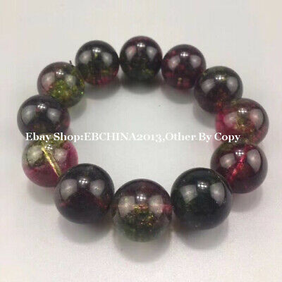 20mm Rare China Tourmaline Stone Buddha 12 Beads Bracelet Bangle