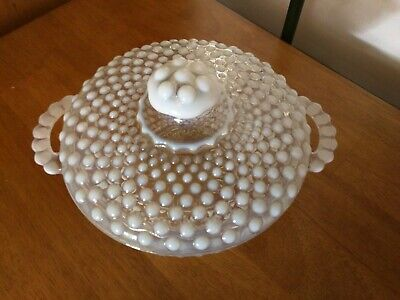 """Vintage Fenton 6"""" Moonstone White Opalescent Hobnail Covered Candy Dish  """"Mint"""""""
