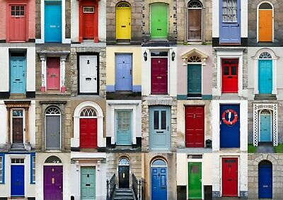 A4  Colourful House Doors Poster Size A4 New Home Buildings Poster Gift #14607