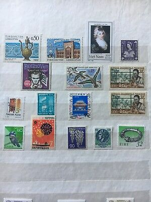 Vstamps Lot of 16 Different Worldwide Stamp Collection Unused & MNH
