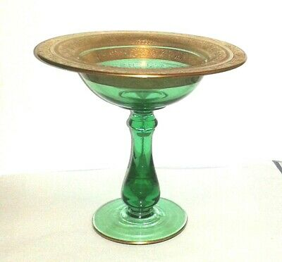 "Antique Green Glass Chalice Cup Gold Gilt Trim (7"" Tall) Very Rare"