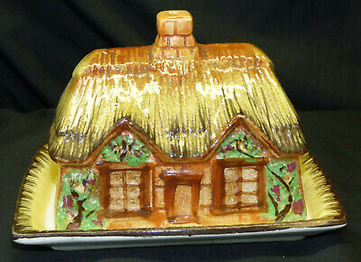 Vtg Occupied Japan Figural Ceramic Cottage Ware Square Butter Cheese Dish 2 Pc