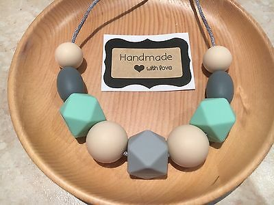 SALE Silicone Sensory (was teething) Necklace for Mum Beads Mint Aus Gift