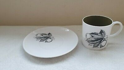 Vintage 60's Susie Cooper Black Fruit Grape Cup & Saucer Pre Wedgewood