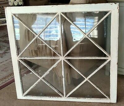 Antique Architectural Salvage Window White Criss-Cross Unique Shabby Chic WOW