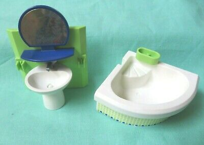 Playmobil  4285 modern BATHROOM SINK MIRROR + TUB  FURNITURE  LOT