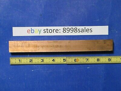 """Copper  1""""  Square  Bar  9""""  Long  Solid  Cu  Bar  Stock  2.88  Pounds"""