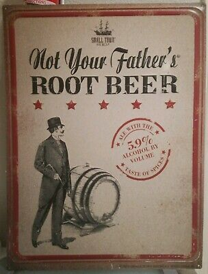"""NOT YOUR FATHER'S ROOT BEER SMALL TOWN BREWERY 18"""" x 24"""" EMBOSSED METAL SIGN."""