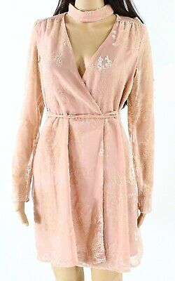 WAYF NEW Blush Pink Womens Size XS Velvet Lace Mock-Neck Wrap Dress $119 871
