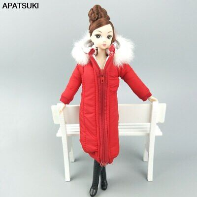 """Red Winter Wear Long Coat for 11.5"""" Doll Dress Clothes Parka For 1/6 BJD Doll"""