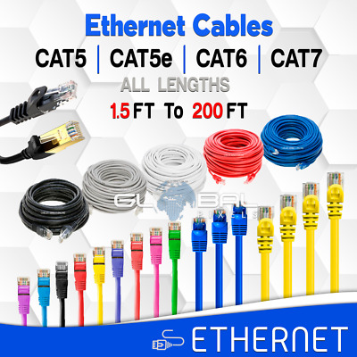 Ethernet Cables CAT5 CAT5e CAT6 CAT7 Cable 3FT to 200FT LAN RJ45 lot ALL LENGTHS