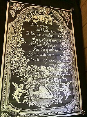 Vintage 1976 Poster Poem Lee YOUNG  Flowers Young Love Butterflies Oregon