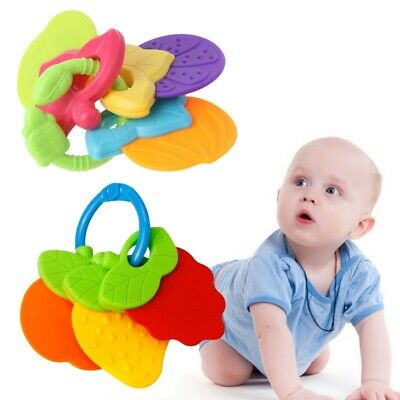 Baby Teether Fruit Shape Silicone Safe Teething Chew Toys Infants Pacifier Gift