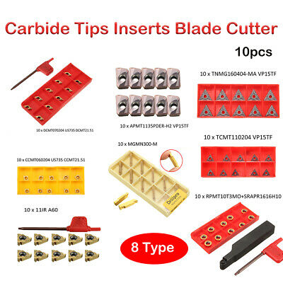 10pcs CNC Carbide Tips Inserts Blade Cutter Lathe Turning Boring Bar Tool Lathe