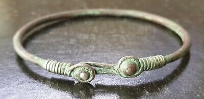 Celtic solid silver bracelet with coiled terminals stunning and rare 21 grams