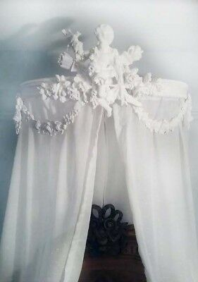 Antique French bed ciel de lit half tester bed canopy Chateau chic