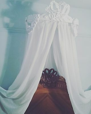 Antique French style bed ciel de lit half tester bed canopy Chateau chic