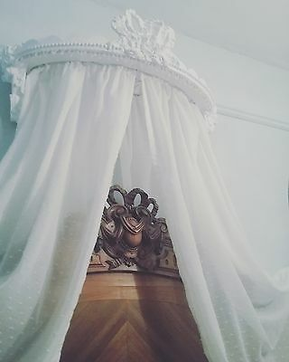 Antique French style bed ciel de lit half tester bed canopy vintage Chateau chic