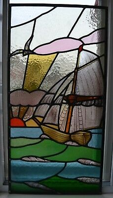 RESTORED leaded light stained glass window panel. R849b. DELIVERY!