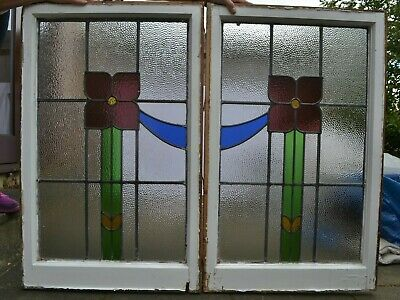 2 leaded light stained glass window sashes. R909b. NATIONWIDE DELIVERY