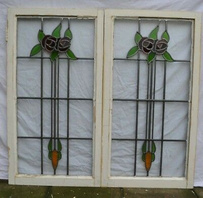 2 British stained glass leaded light window sashes. R873i. DELIVERY OPTIONS!