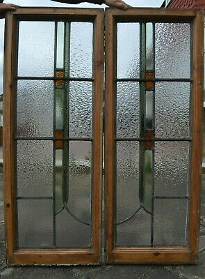 2 art deco stained glass leaded light window sashes. R830