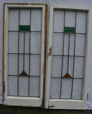 2 art deco leaded light stained glass window sashes. R872b. DELIVERY!