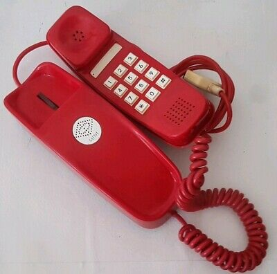 Vintage Retro Funky Red Push Button Wall mounted Phone works Telephone