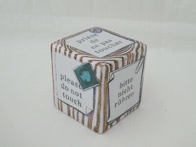 Mid Century FORNASETTI Cube Paperweight PLEASE DO NOT TOUCH