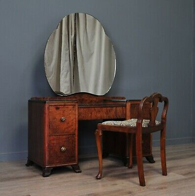 Attractive Large Vintage Art Deco Burr Walnut Dressing Table With Stool