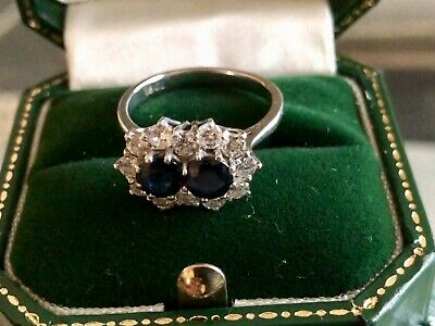 Sapphire and Diamond 18ct white gold claw set double cluster ring 1ct Diamonds