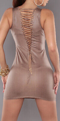 Sexy Mini Abito Aderente Bronzo Stretch  Wet Look Stampa Rettile Stringato Disco