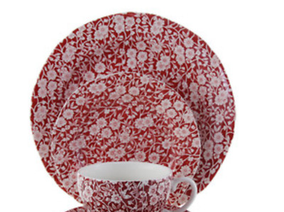 Burleigh Pottery Red Calico Breakfast Cup 3 Pieces Set New Was £50