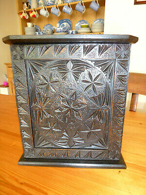 Antique Victorian chip carved folk art wall cupboard