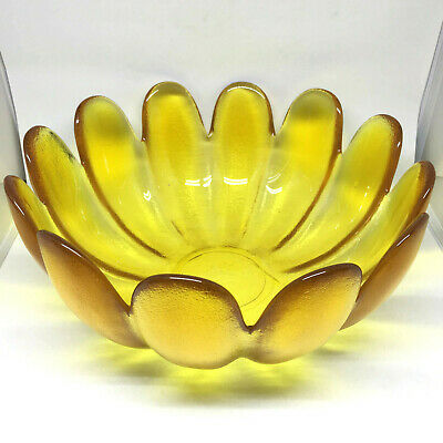Vintage Indiana Glass Amber Bowl Yellow 12 Petal Lotus Flower Large Mid Century