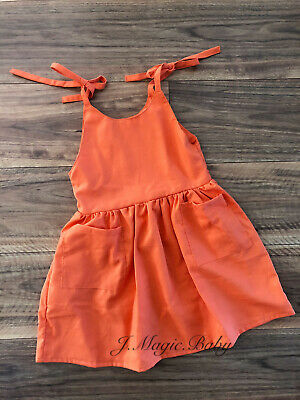 Baby Girls Orange Linen Tie Knot Knee Length Dress Birthday Party Gift Wedding