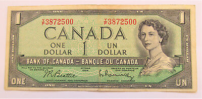 YP 3872500 CIRCULATED 1954 1 DOLLAR BANKNOTE - combined shipping