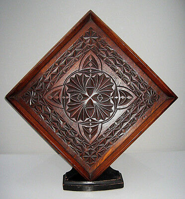 Arts and Crafts carved oak square carved plaque or tray