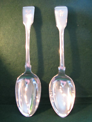 "William IV pair of solid silver 8""serving spoons 1835 168 grms, short reign date"